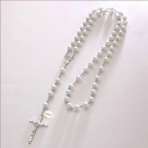 Wired Personalised Rosary, White Pearls, Any Engraving